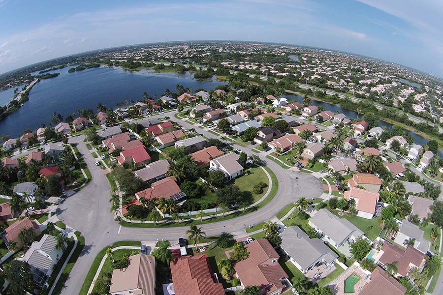 Central FL - Aerial View of Small Neighborhood in Central Florida